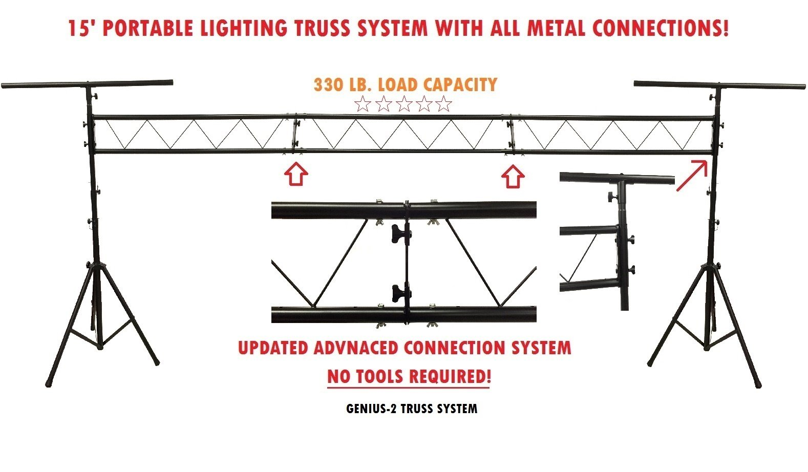 Pro Audio DJ Portable Light Lighting Fixture T Bar Stands 15Ft Truss Package Only Seller With Advanced Wing Nut Connection System! by Cedarslink