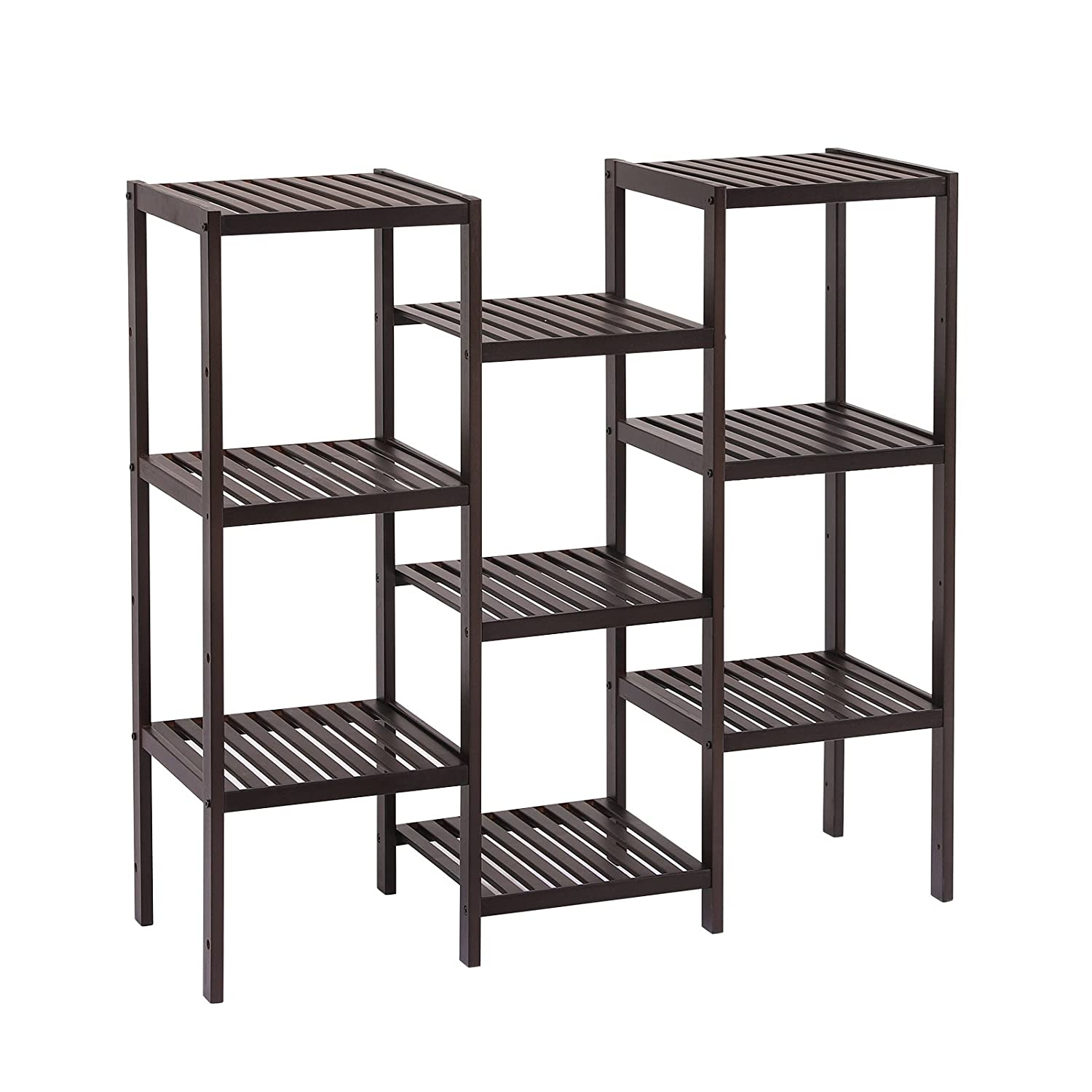 Amazoncom Songmics Bamboo Customizable Plant Stand Shelf 9 Tier Flower Pots