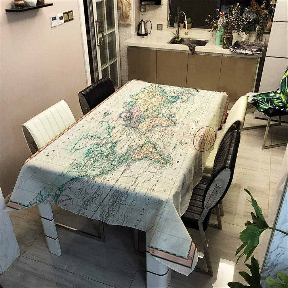 Enhome Mesa Mantel Antimanchas Rectangular Impermeable, 3D Mapa del Mundo Impresión Poliéster Tela Lavable para Exterior Interior Comedor Cocina Casa Jardín y Bar Decoración (100×140cm,J): Amazon.es: Hogar