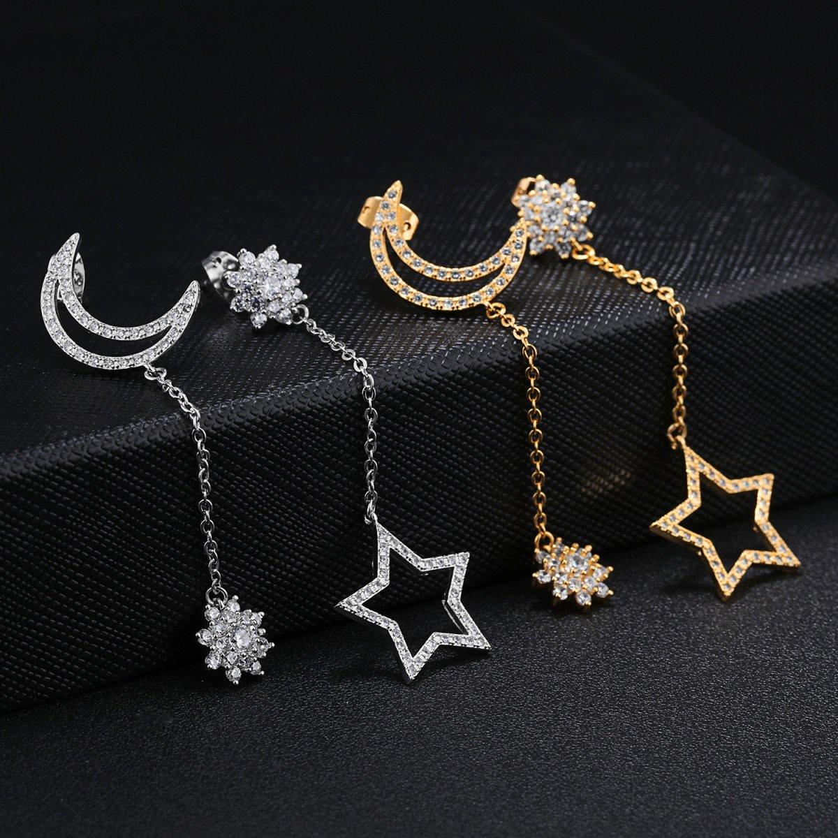 Frauen Langer Abschnitt Asymmetry Stern-Mond-Tassel Diamant-Draht ...