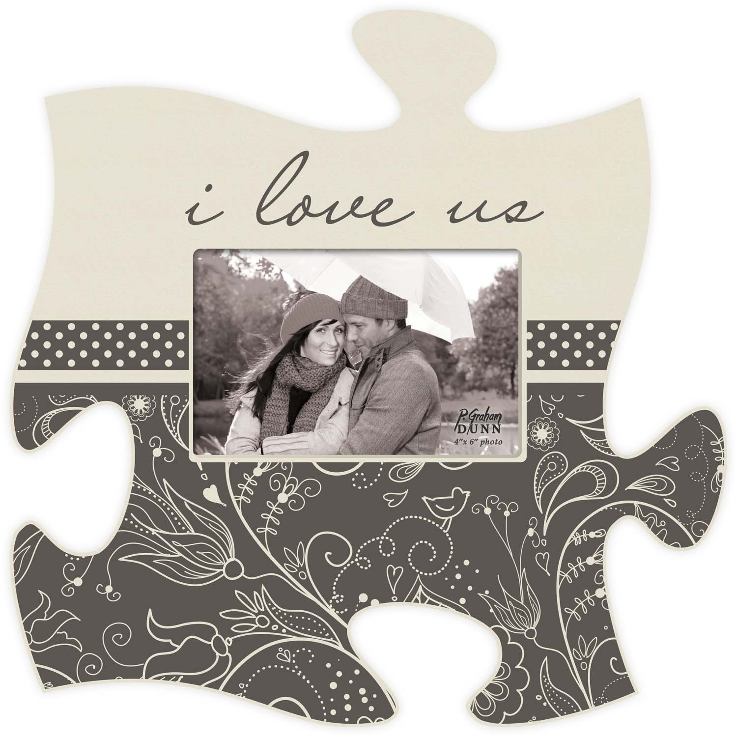 I Love Us Grey Floral Dots 12 x 12 Wall Hanging Wood Puzzle Piece Photo Frame