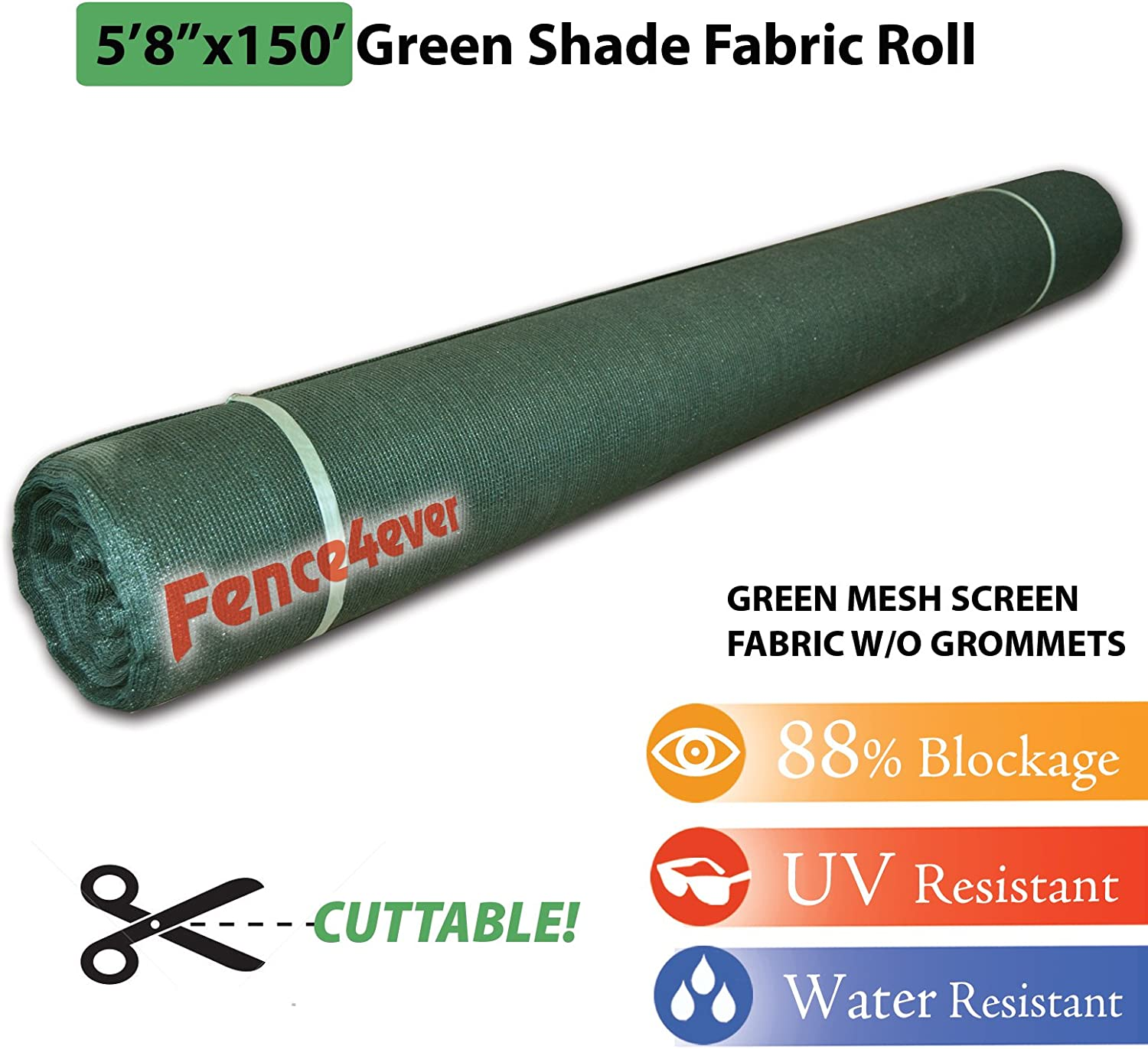 Fence4ever 6 x 150 Green Sunscreen Shade Fabric Roll 90 Uv Block