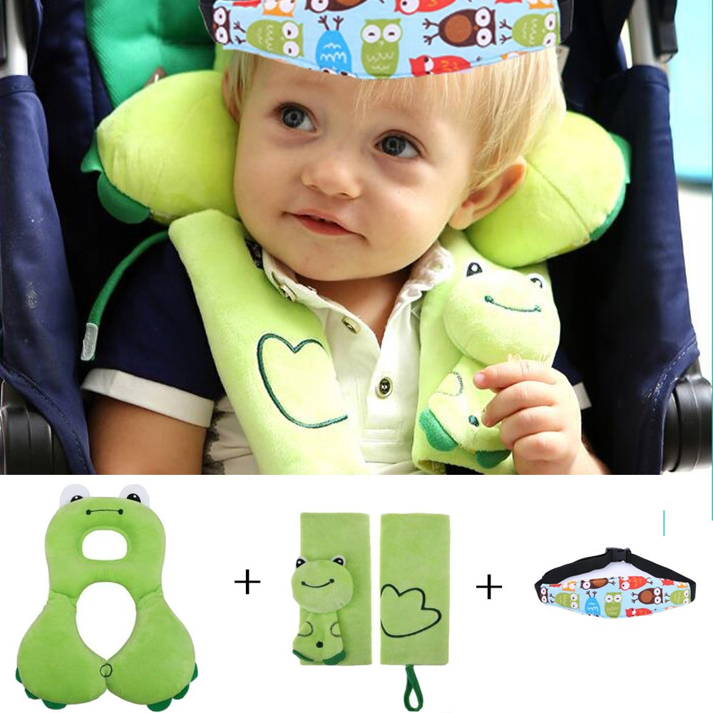 Baby Head Support With Strap Covers And Head Support Band - Soft Headrest Neck Support & Seat Belt Strap Cover For 1-4 Years Old Toddlers - Comfortable Car Seat Pillow & Seat Belt Cover Best Gift For Child- Green Giant Trees
