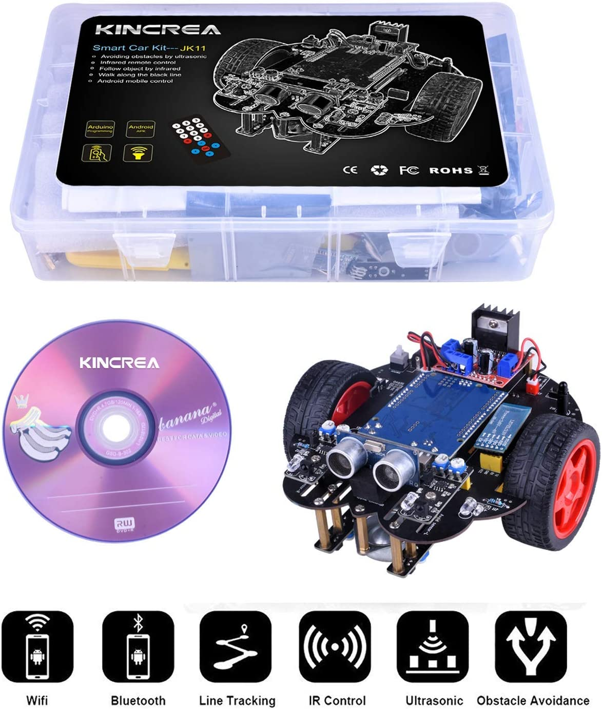 Smart Robot Car Kit for Arduino with Line Tracking Module,Ultrasonic Sensor,IR Remote Control Module and Android Bluetooth APP Control