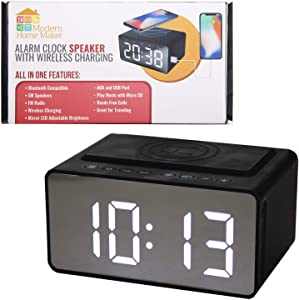 ModernHomeMaker Alarm Clock with Wireless Charging Dock for Phone - Radio Digital Alarm Clock with Bluetooth Speaker and Jumbo LED Adjustable Brightness Display Plus USB Charger for Any USB Device