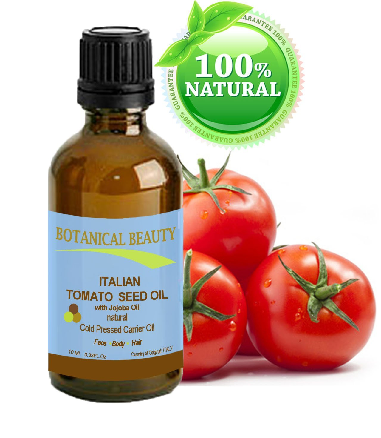 """ITALIAN TOMATO SEED OIL 100% Natural/Cold Pressed Carrier Oil. For Face, Body, Lip, and Hair. 0.33fl oz - 10ml. """"one of the richest natural sources of lycopene, lutein, zeaxanthin, phtosterols and minerals."""""""