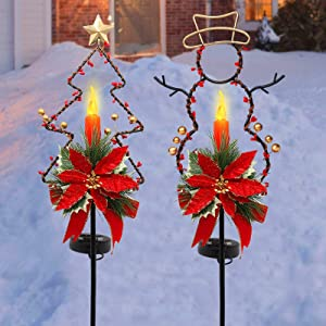 MAGGIFT 32 Inches Solar Christmas Decorations Outdoor LED Solar Powered Candle Xmas Pathway Lights, Metal Snowman & Tree Garden Stakes Sidewalk Lawn Yard Ornament, Set of 2