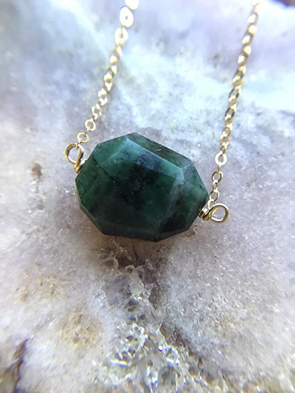 Genuine Emerald May Birthstone Chain Ring Fine Jewelry Details about  /Solid Gold 0.16 Ct