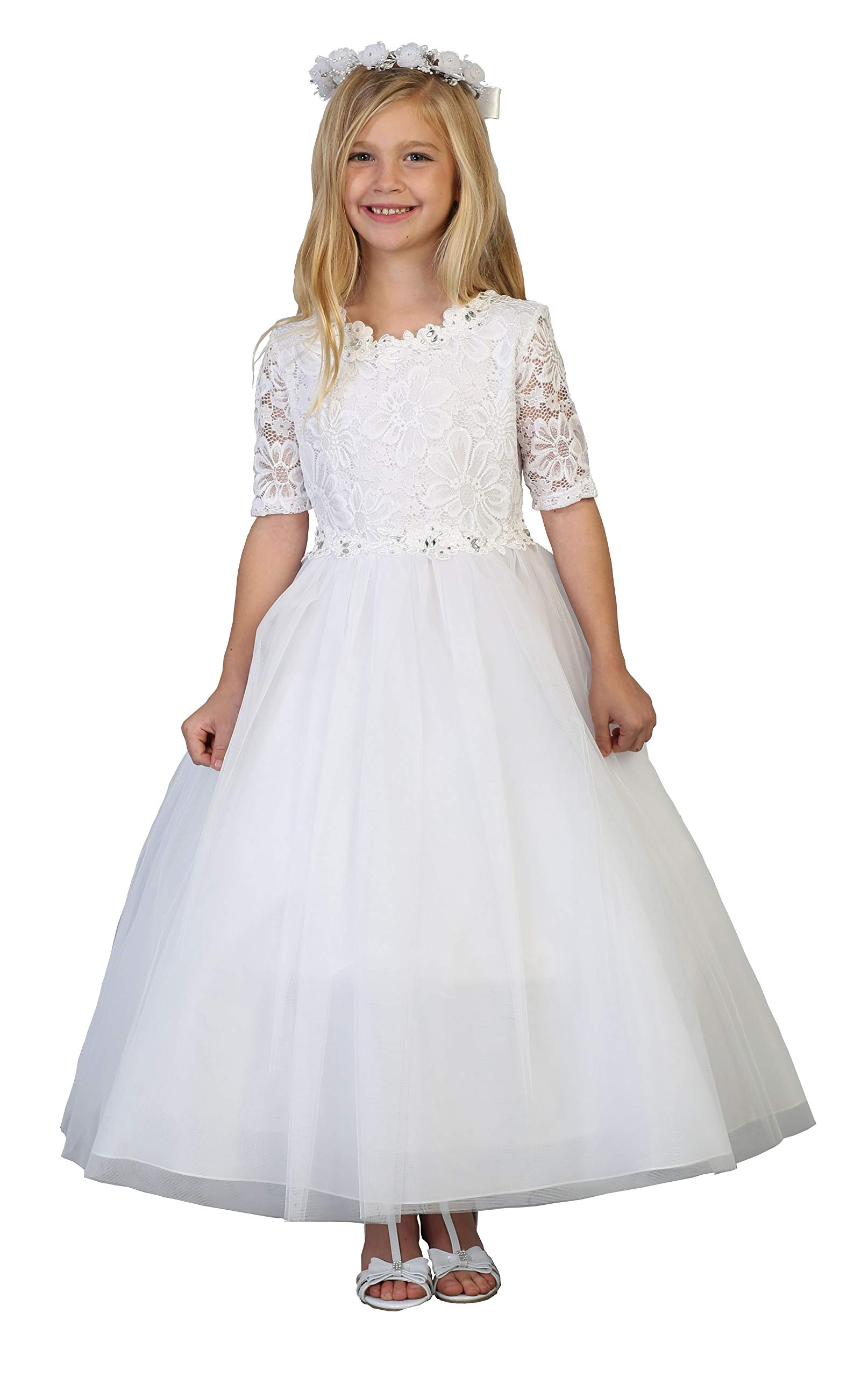 Big Girls' White First Communion Lace Tulle Half Sleeves Flower Girl Pageant Dress USA 3854 Size 24