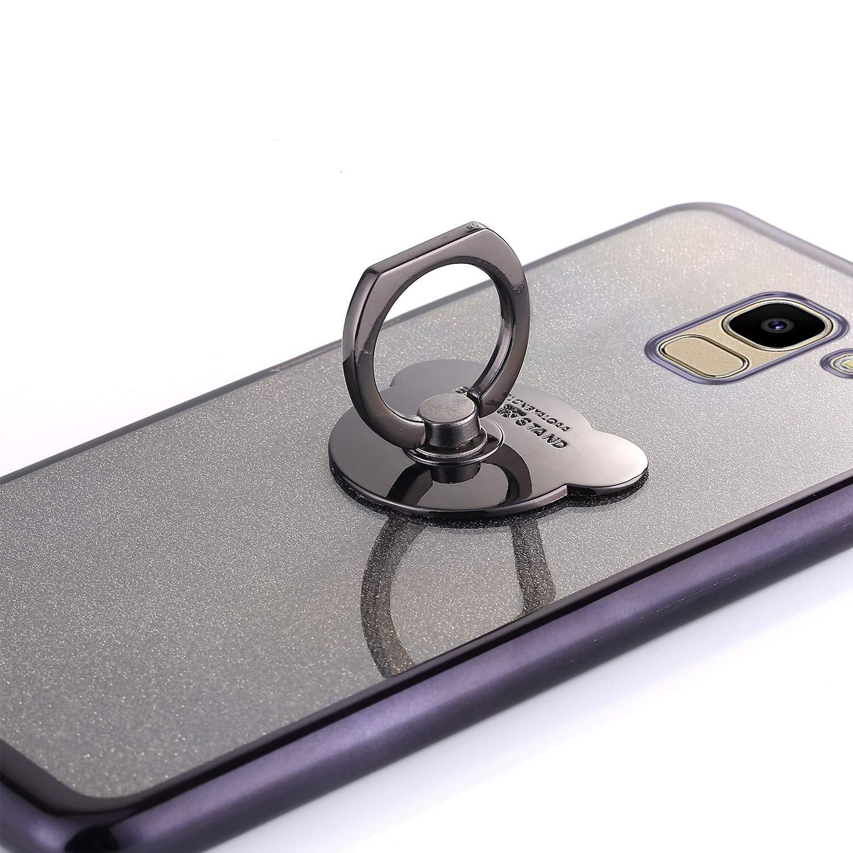 Felfy Kompatibel mit Galaxy J6 2018 H/ülle,Kompatibel mit Galaxy J6 2018 Handyh/ülle Glitzer Gl/änzend Ultrad/ünn TPU Silikon Schutzh/ülle Crystal Tasche Cover Case mit Ring St/änder,Silber