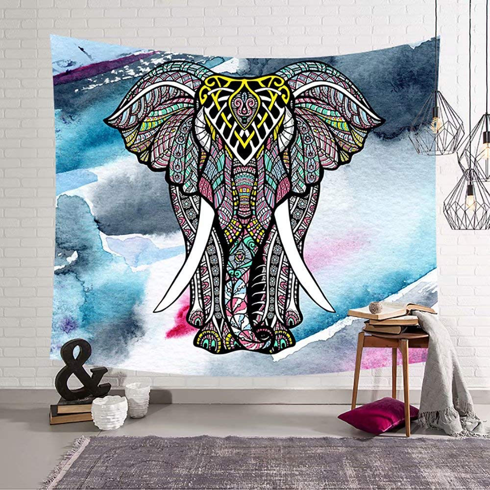 YOMIA Watercolor Elephant Tapestry Hippie Wall Hanging Mandala Tapestry Bohemian Wall Rug Psychedelic Wall Tapestry Psychedelic Tapestry for Indian Dorm Decor 60x40inch