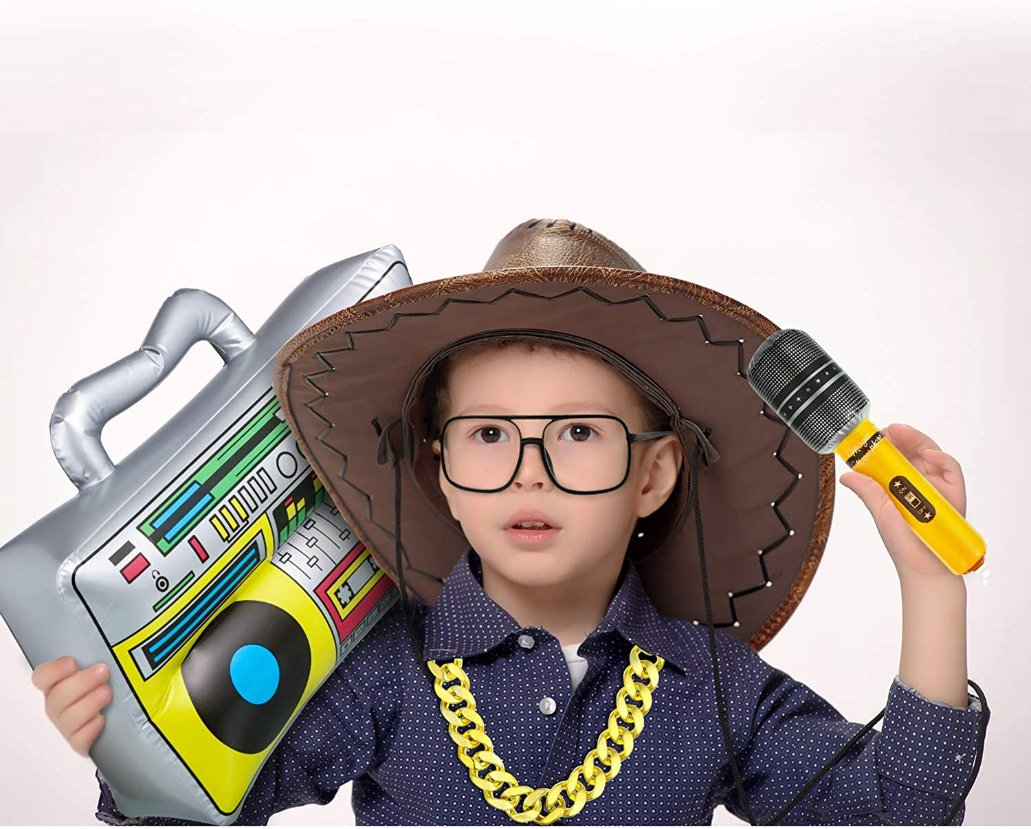 80s// 90s Hip Hop Costumes Accessories Bucket Hat DJ Sunglasses Faux Gold Chain Inflatable Boom Box Microphones
