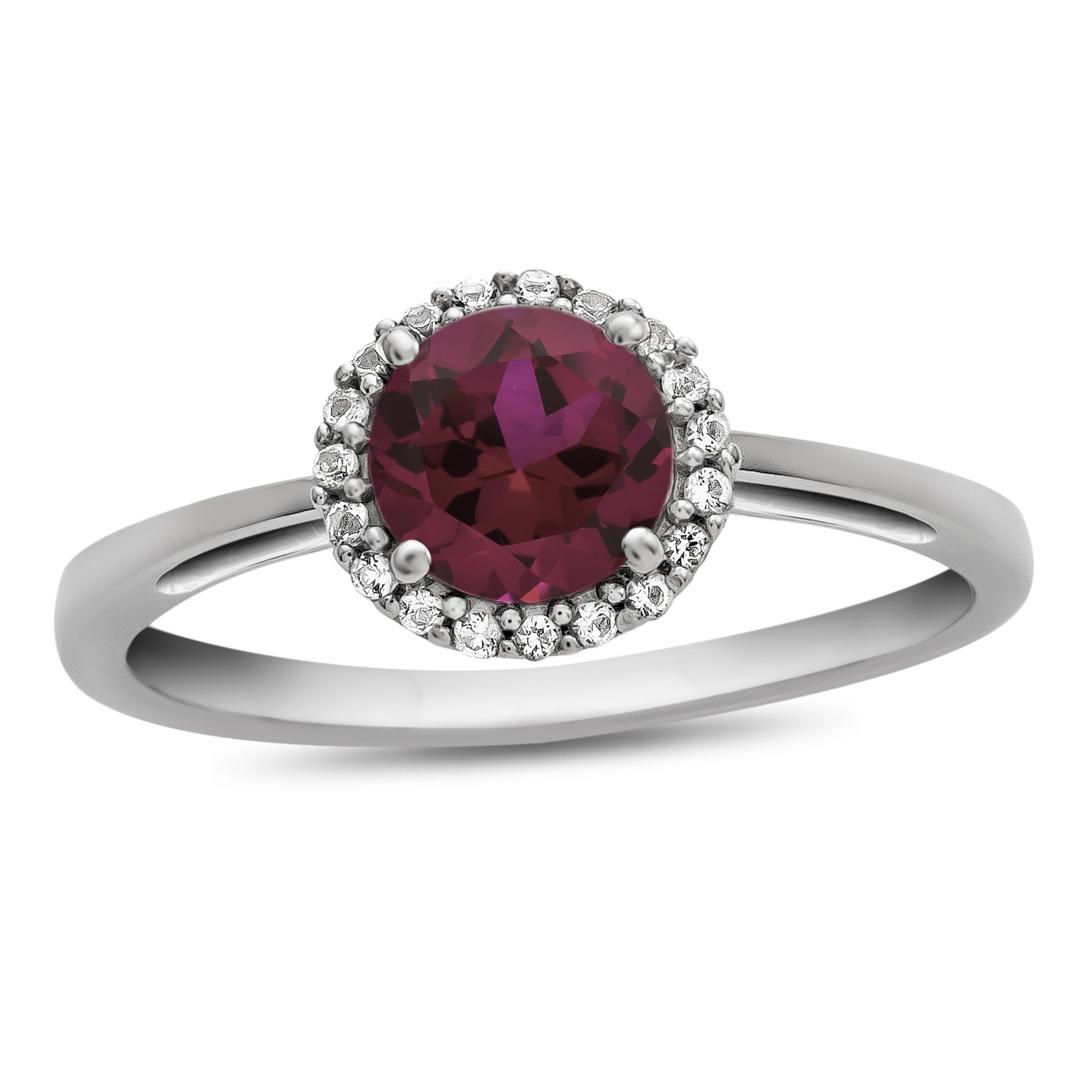 10k White Gold 6mm Round Created Ruby with White Topaz accent stones Halo Ring Size 6