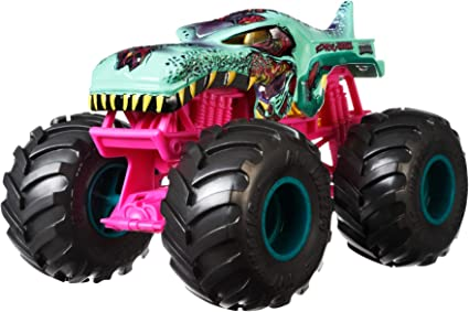 Amazon Com Hot Wheels Monster Trucks Zombie Wrex Die Cast 1 24 Scale Vehicle With Giant Wheels For Kids Age 3 To 8 Years Old Great Gift Toy Trucks Large Scales Toys Games