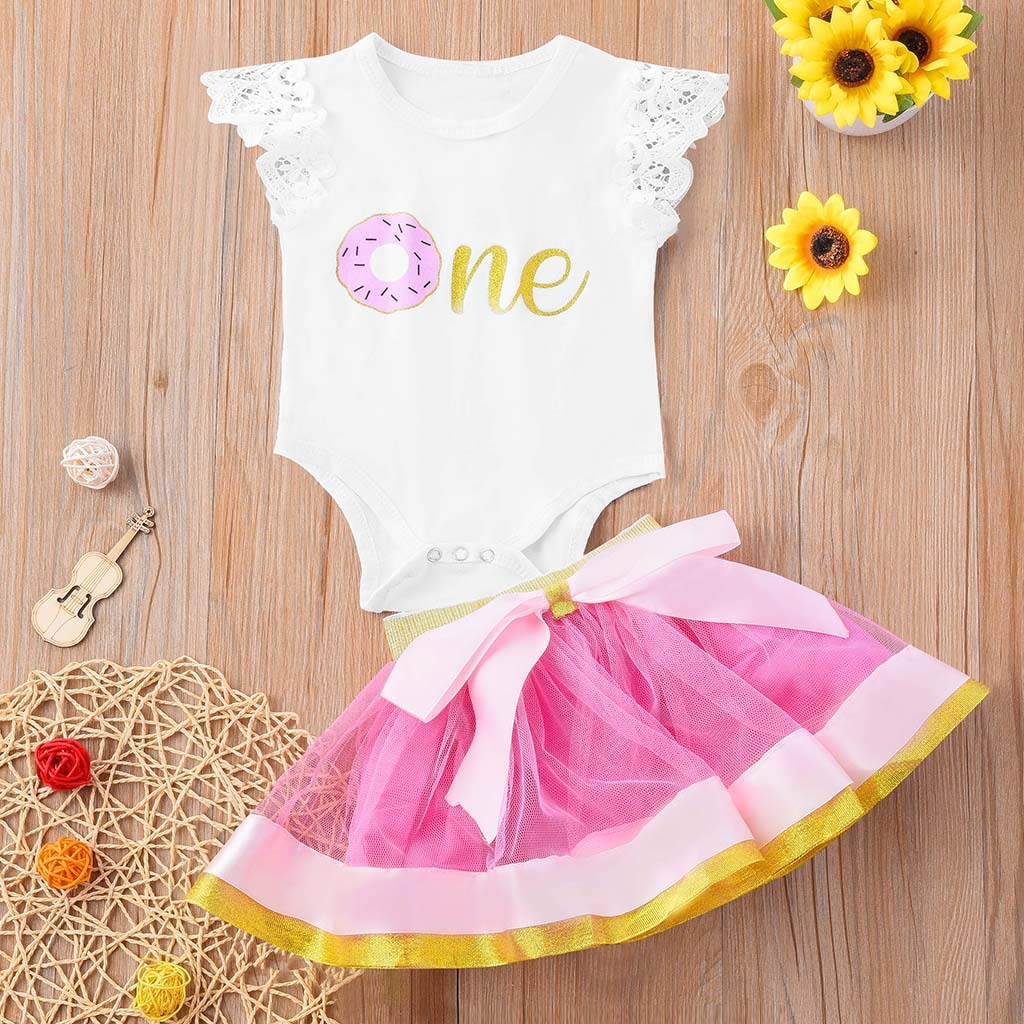 Mesh Tutu Bownot Skirt 2Pcs Outfits Sets Dinlong Newborn Kid Baby Girls Letter Printed Fly Sleeve Lace Romper