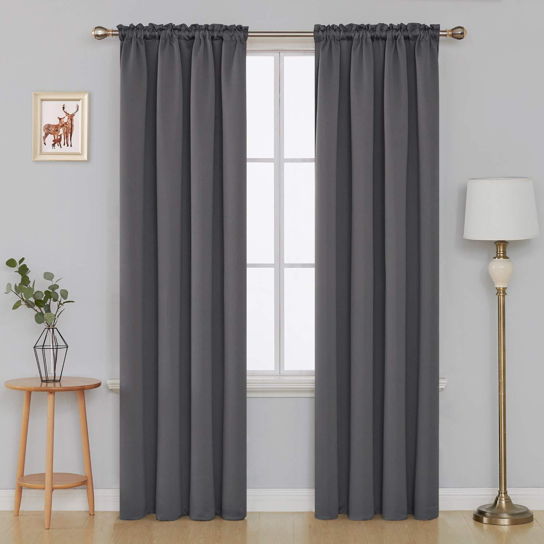 Deconovo Black Blackout Curtains Rod Pocket Curtain Panels Room Darkening Curtains for Bedroom 52 W x 72 L Inch 2 Panels