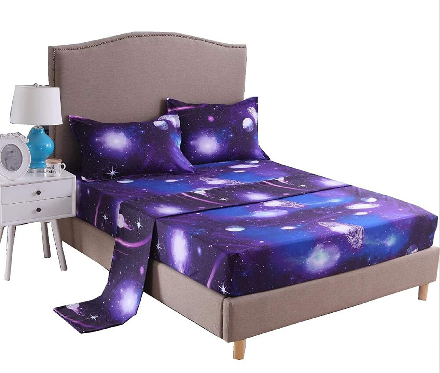 A Nice Night Galaxy 3D Printing Bed Sheet Bedding Set, 100% Soft Microfiber Fitted Sheet (Queen, 07)