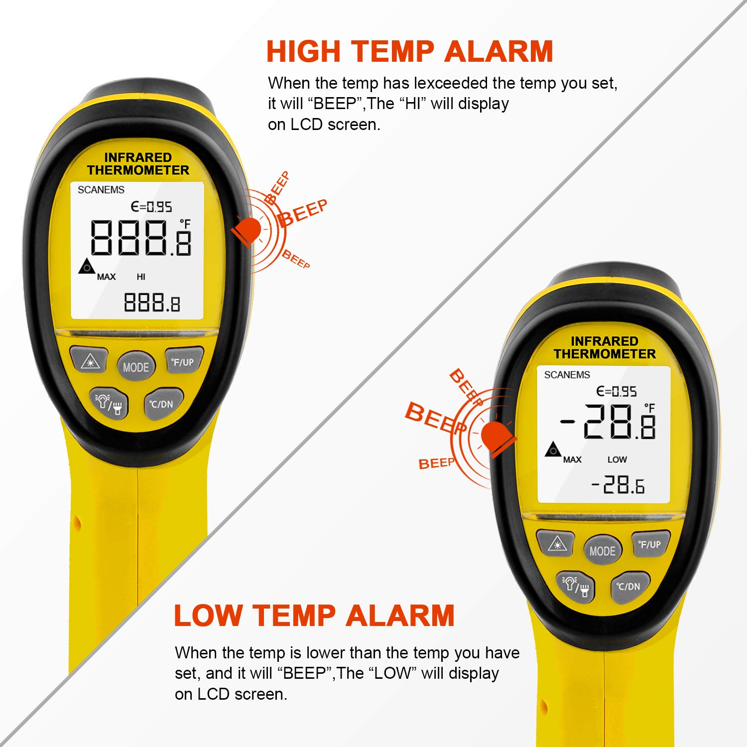 HOLDPEAK 985B Digital Infrared Thermometer Dual Laser Thermometer Non-Contact Temperature Gun -58℉~2480℉ (-50℃~1360℃) with Data Hold & Adjustable Emissivity for Forge Melting Furnace Kilns Industry by H HOLDPEAK (Image #4)