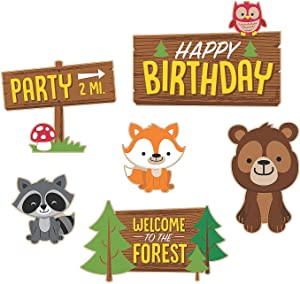 Fun Express - Woodland Party Cutouts for Birthday - Party Decor - Wall Decor - Cutouts - Birthday - 6 Pieces
