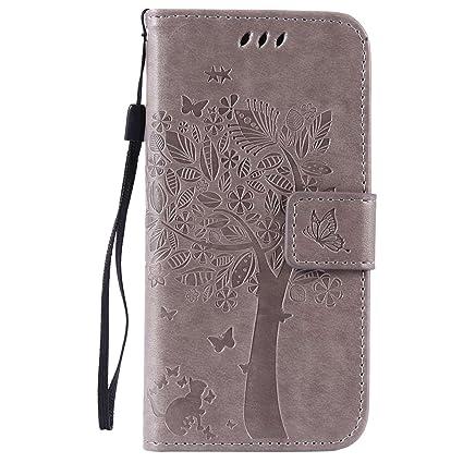 pinlu® Flip Funda de Cuero para Huawei Ascend P7 Carcasa con Función de Stent y Ranuras con Patrón de Gato y Árbol Cover (Gris)
