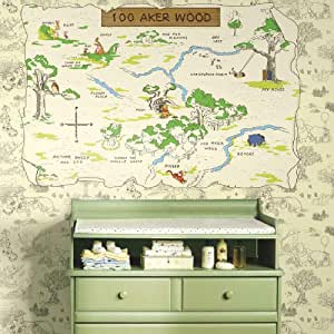 RoomMates Winnie The Pooh 100 Aker Wood Peel and Stick Map