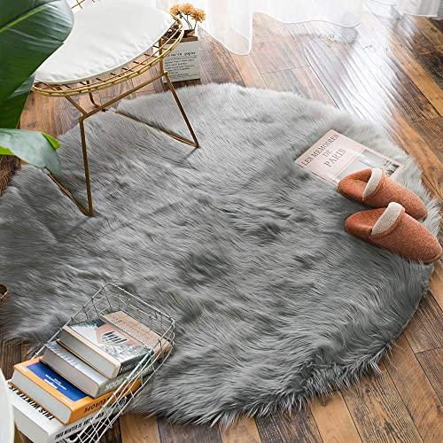 Carvapet Luxury Soft Round Faux Sheepskin Fur Area Rugs Chair Cover for Bedroom and Living Room, 4ft Diameter, Grey