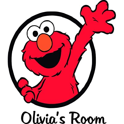 Sesame Street Elmo Personalized Custom Family Name Wall Decals Wall Design Stickers Vinyl Removable Children Kids Rooms Girls Boys Baby Nursery Cartoon Size 15x15 inch: Baby [5Bkhe0304520]