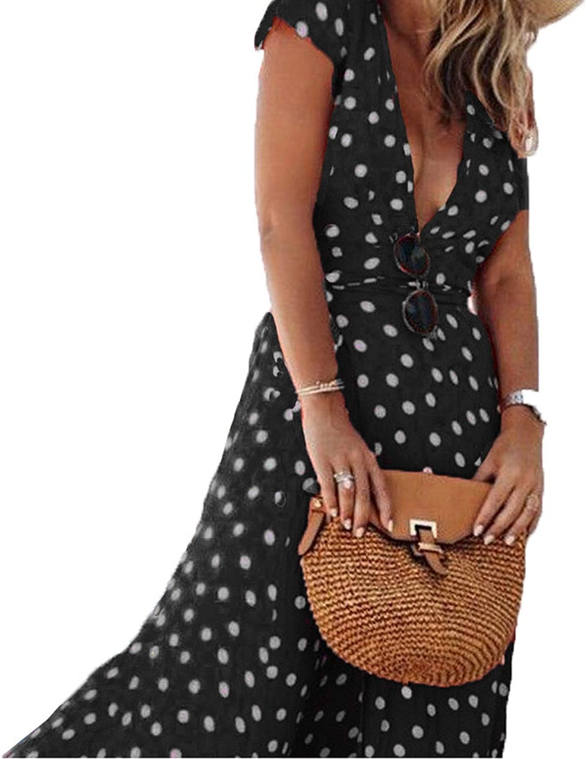 Summer Dress Women Polka Dot Deep V Neck Short Sleeve Split Party Beach Maxi Long Dress Sundress Plus Size