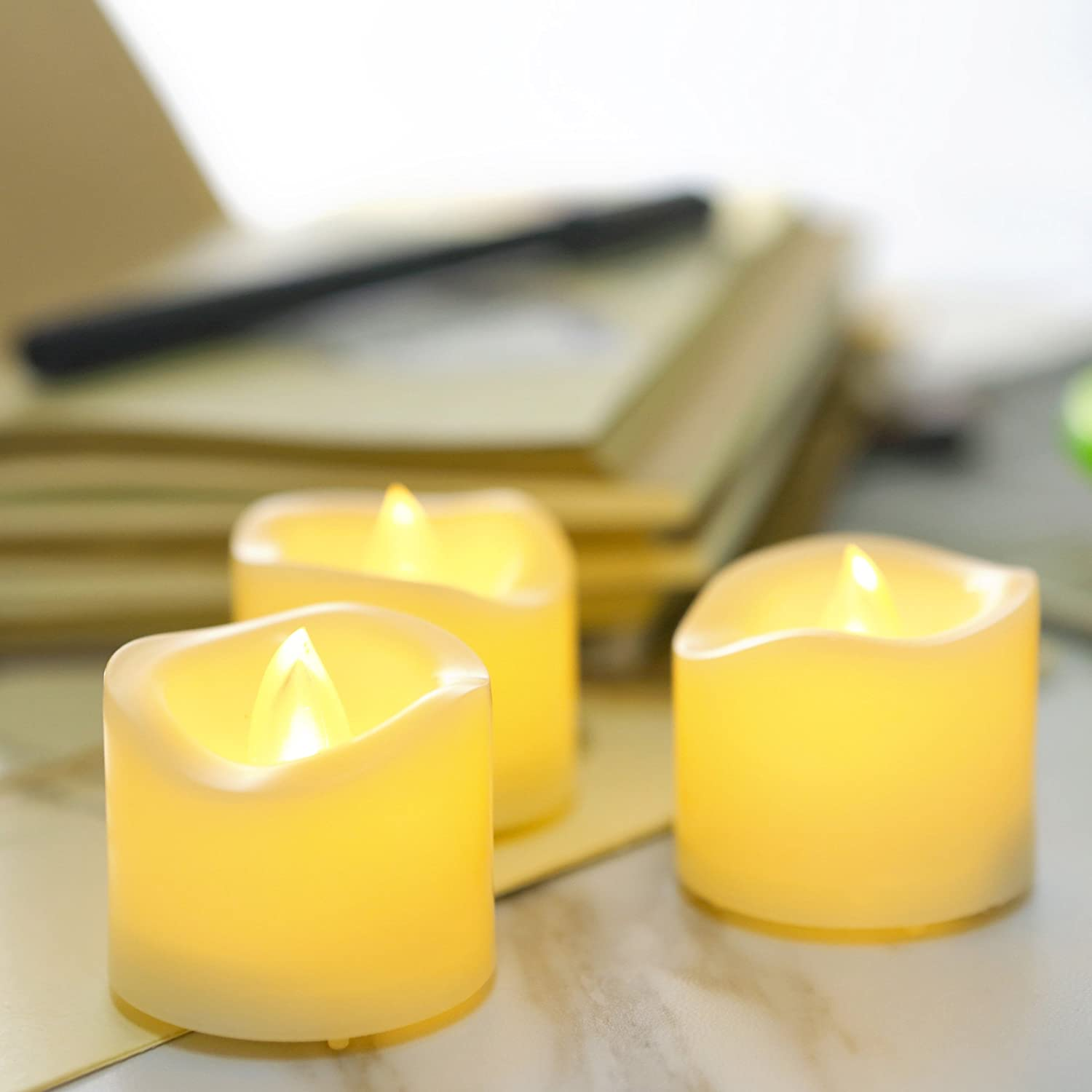 1.5x2 12 Pack Battery Incl. Battery Operated Flameless Votive Candles with Drips Flickering Realistic Electric LED Votives Tea Lights for Home Wedding Party Festivals Decorations Supplies