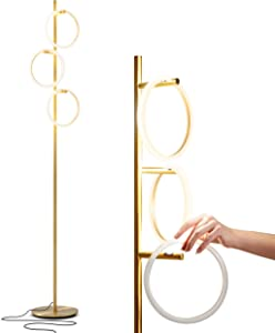 Brightech Saturn LED Tree Floor Lamp - Unique Design Matches Modern and Contemporary Decor - 3 Light Standing Pole Lamp- Tall Light for Living Room, Bedroom, and Office - Gold / Brass