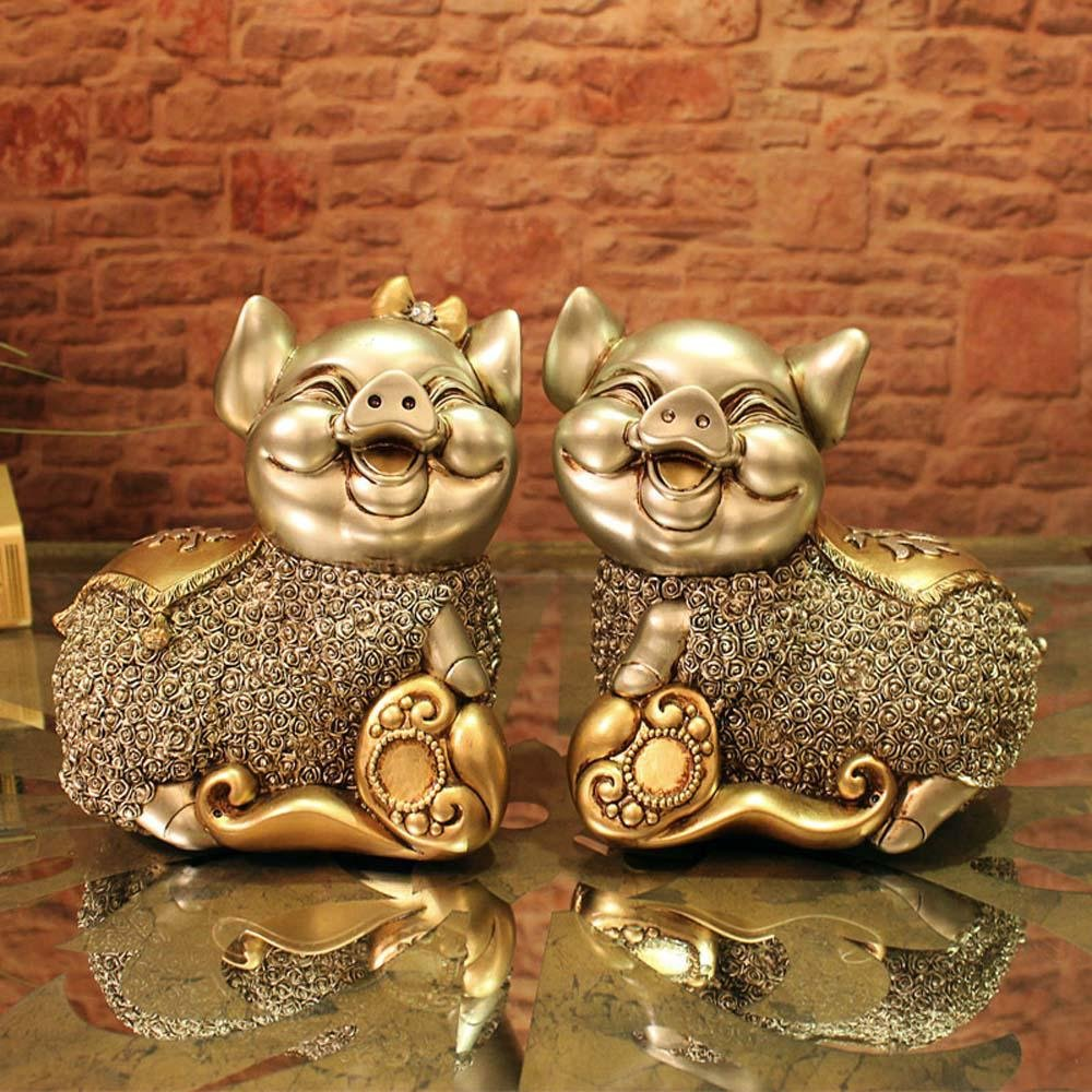 WWQY European wedding gift couple pig resin animal ornaments creative home decorations auspicious gifts 19 13 19/19 13 19 , 191319/191319 by WWQY home (Image #1)