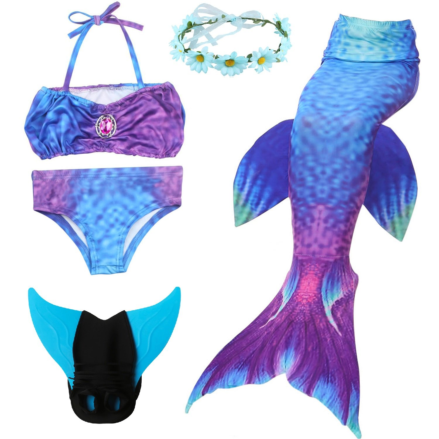 5 Piece Mermaid Tail Swimsuit with Removable Fin and Included Monofin and Flower Garland Headband, Wet and Dry Outfit for Children and Teens (150(10-13Y), Bohemia)