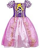 HenzWorld Little Girls Dress Outfits Costume Princess Birthday Party Halloween Cosplay Purple Puff Sleeve