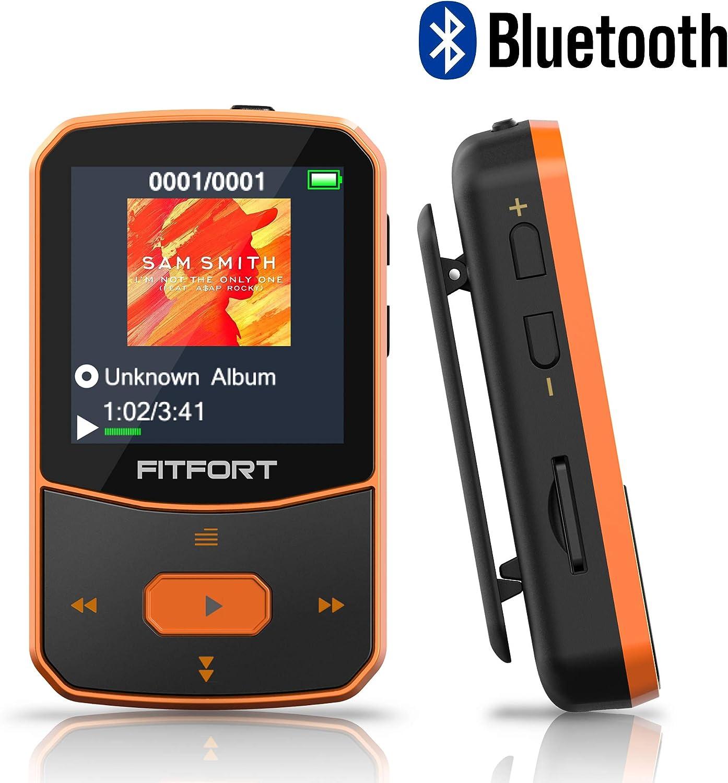 Reproductor MP3 Bluetooth 4.1 - MP3 Bluetooth Running, Sonido de Gama Alta, Radio FM, Grabación de Voz, E-Book, Podómetro, Pantalla de Color de 1.5 Pulgadas, Soporte hasta 128GB Tarjeta
