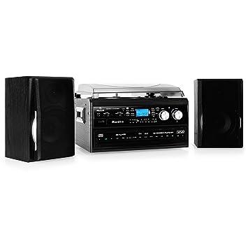 Auna Equipo Estéreo Compacto HiFi con tocadiscos (doble ...