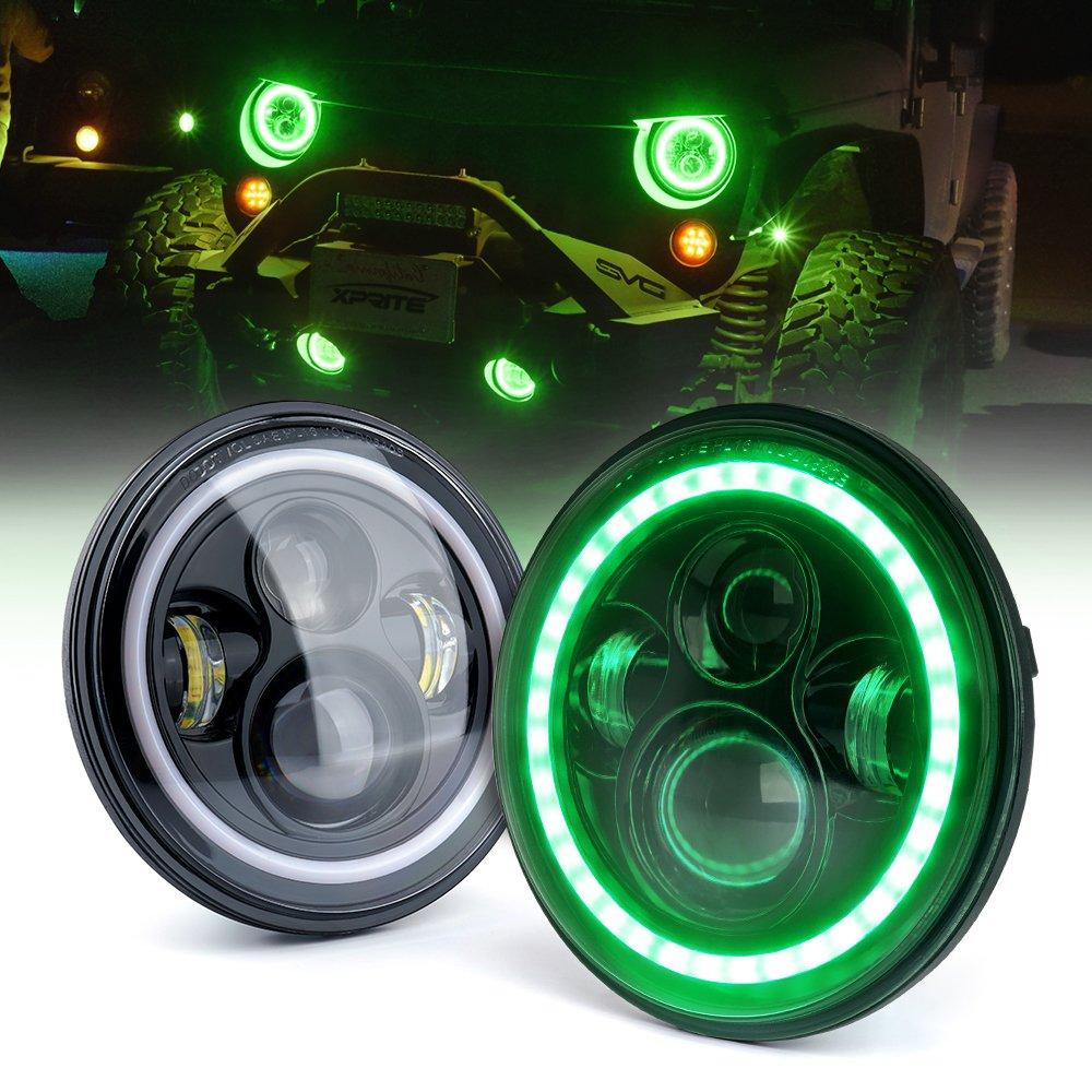 Xprite 7 80w Cree Led Headlights With Green Halo For Addition Jeep Wrangler Yj Sahara On 90 Hose Diagram Jk Tj Lj 1997 2018dot Approved Chip 9600 Lumens Hi Lo Beam