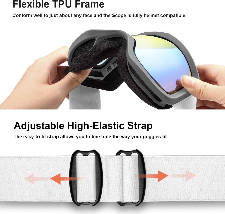 Unigear Gafas de Esqu/í OTG Esquiar Protecci/ón UV 400 Snowboard Revo Lentes Doble Anti-Niebla Anti-Reflejo de Nieve para Adulto Mujer Hombre