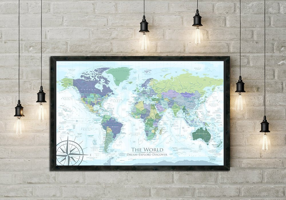 The Humboldt World Map in Modern Light Colors - Use as a Wall Map or Push Pin Map - Framed Wall Map or Pin Map, Modern World Map | Personalized Map, includes 100 map pins.