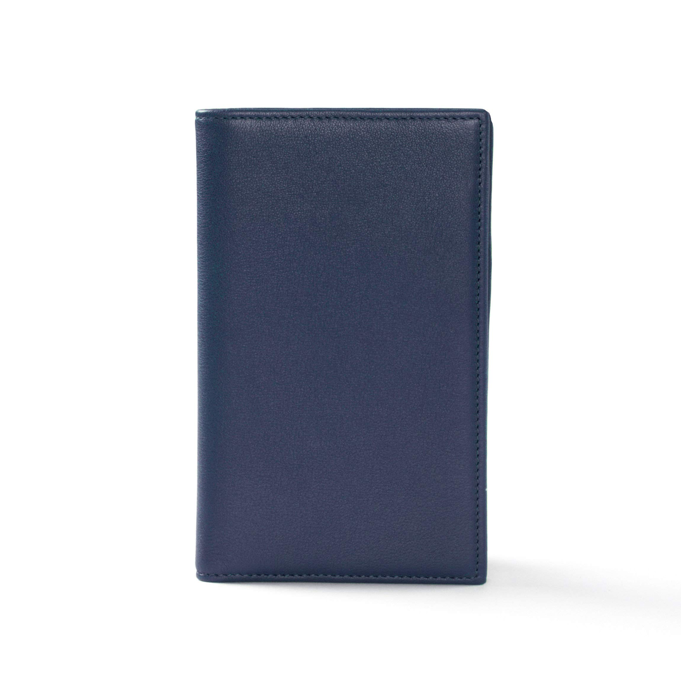 Business Card Organizer - Full Grain Leather - Navy (Blue)