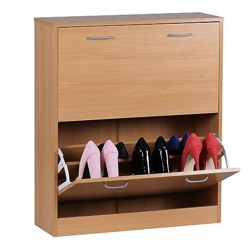 Wohnling Schuhkipper Sarah Kommode Schmal Schuhschrank Zu Cabinet  Schuhkommode Flur Holz, 75 Cm Breit 87