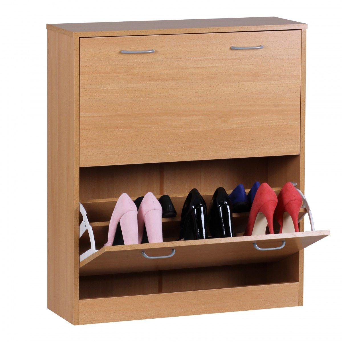 Wohnling Schuhkipper Sarah Kommode schmal Schuhschrank zu Cabinet Schuhkommode Flur Holz, 75 cm breit 87 cm hoch 24 cm tief 20 paar Schuhe Doppelreihe geschlossen Garderobe 2 Klappen doppelt, buche