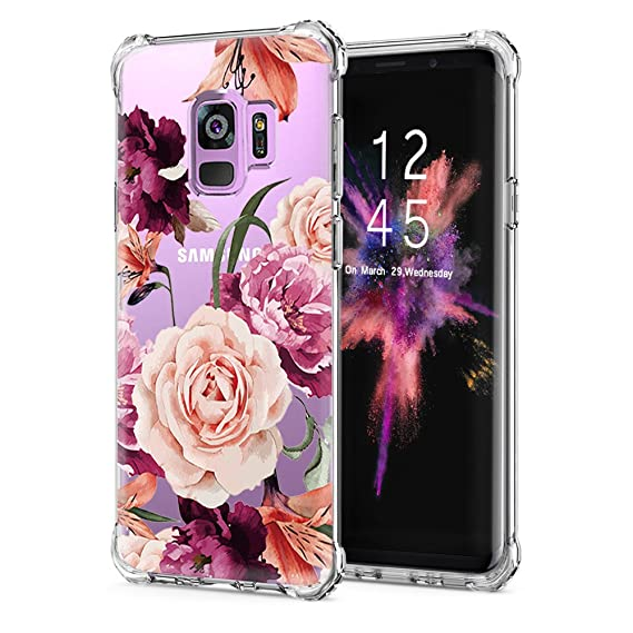 factory price 81cf9 bd035 Galaxy S9 Case,Galaxy S9 Case with Flower,LUOLNH Slim Shockproof Clear  Floral Pattern Soft Flexible TPU Back Cover for Samsung Galaxy S9 -Purple