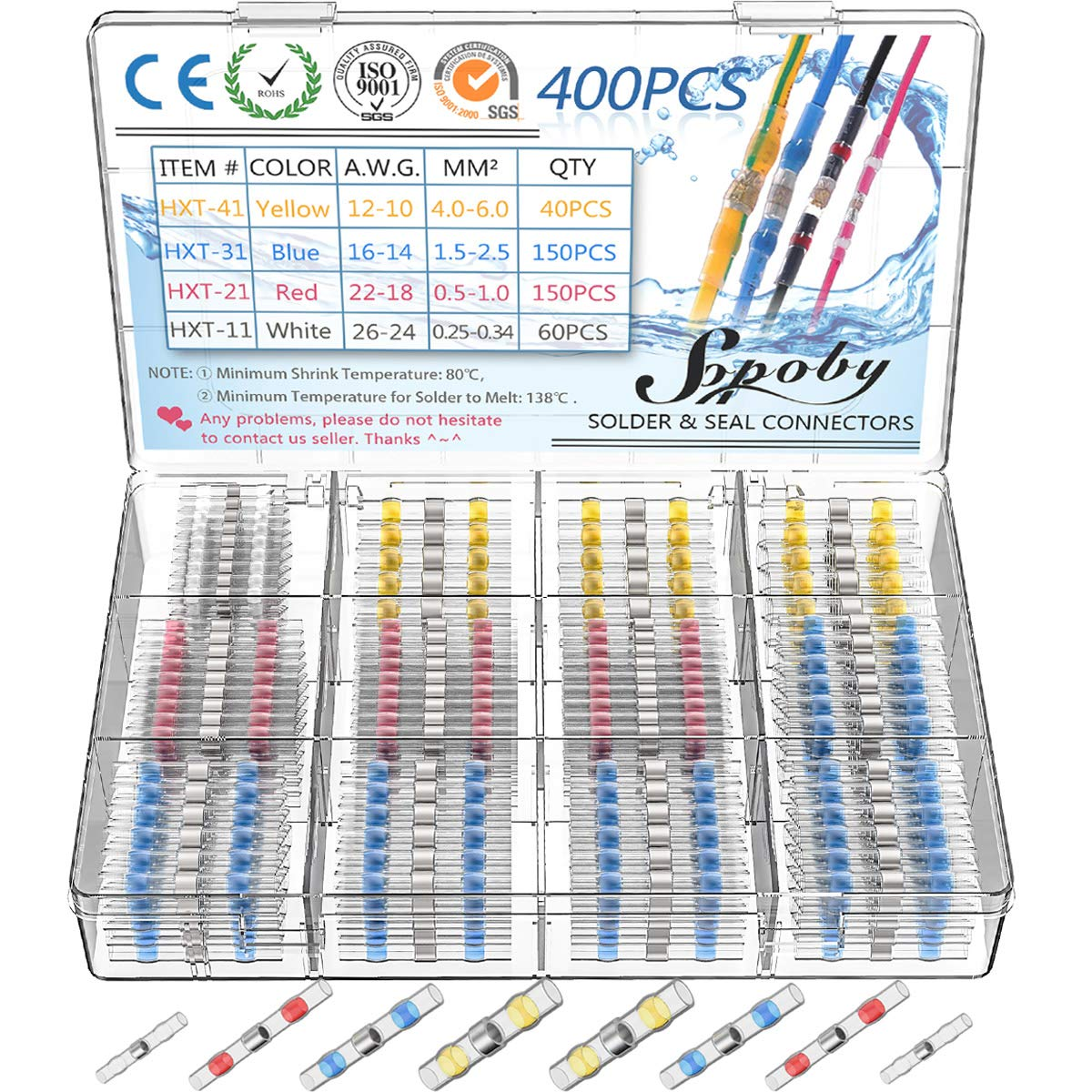 400PCS Solder Seal Wire Connectors - Sopoby Heat Shrink Solder Butt Connectors - Solder Connector Kit - Automotive Insulated Waterproof Electrical Wire Terminals