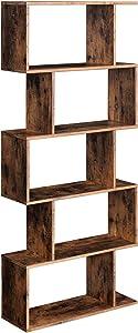 VASAGLE Wooden Bookcase, Display Shelf and Room Divider, Freestanding Decorative Storage Shelving, 5-Tier Bookshelf, Rustic Brown ULBC62BX