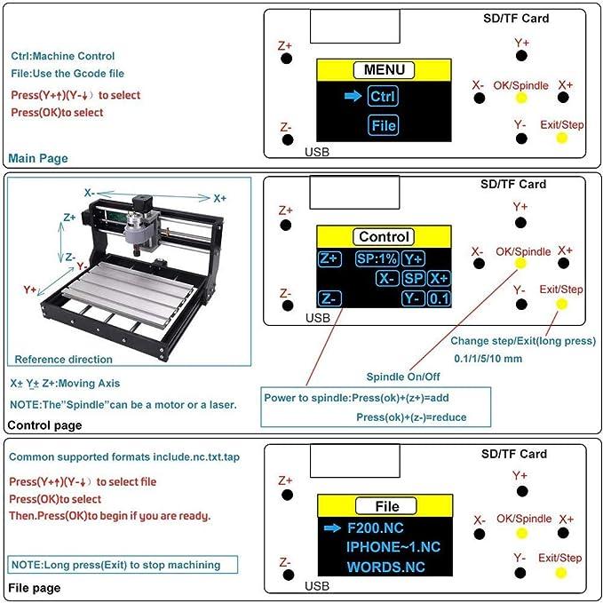 kit de enrutador CNC GRBL Control Mini grabador l/áser DIY de 3 ejes para madera PCB PVC pl/ástico acr/ílico Kacsoo M/áquina de grabado l/áser 2 en 1 CNC 3018 Pro con m/ódulo l/áser 2500 /área 300x180x45mm