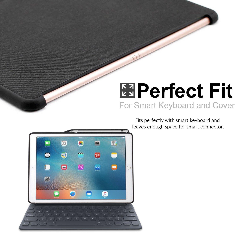 KHOMO 12.9 Inch Funda trasera Companion para iPad Pro (versión 2015 y 2017), con portalápiz, Gris (Charcoal Grey): Amazon.es: Informática