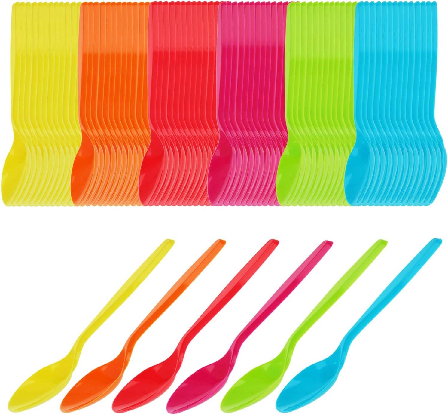 com-four® 96x cuchara de huevo de plástico - cuchara de postre en colores brillantes - 12 cm de largo (96 piezas)