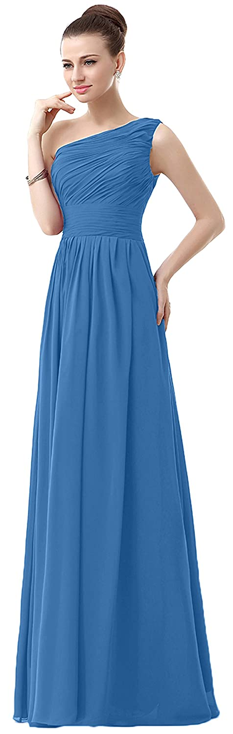 VaniaDress Women One Shoulder Chiffon Long Bridesmaid Dress Prom Gonws V006LF