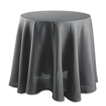 CAROMIO Round Tablecloth   70 Inches   Grey Waffle Fabric Table Cloth For  Buffet Table,