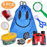 Outdoor Explorer Kit, 9 Pack Kids Adventurer Exploration Equipment Set with Binoculars, Flashlight, Compass, Magnifying Glass, Backpack Bag, Bug Collector, Whistle, Butterfly Net & Tweezers for Camping, Hunting, Hiking & Bird Watching